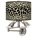 Leopard Giclee Plug-In Swing Arm Wall Lamp