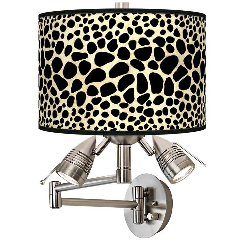 Leopard Giclee Plug-In Swing Arm Wall Lamp