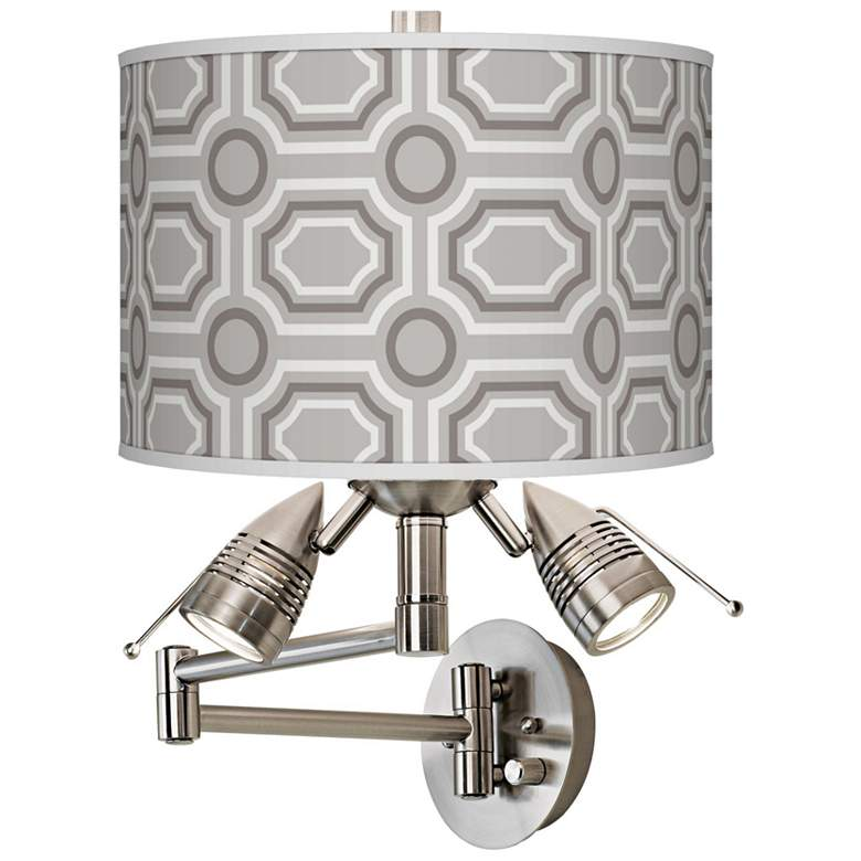Luxe Tile Giclee Plug-In Swing Arm Wall Lamp