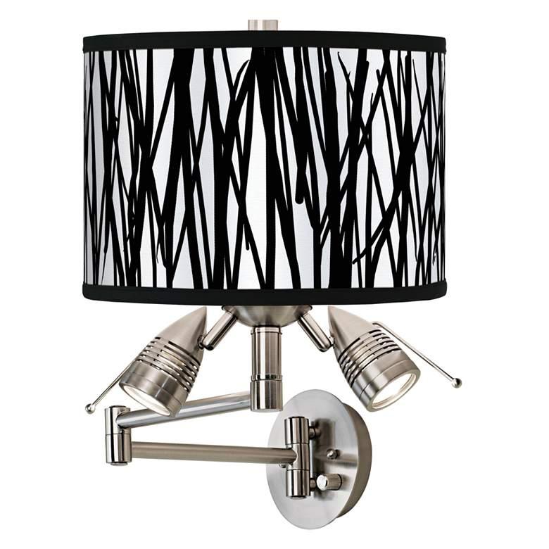 Black Jagged Stripes Giclee Swing Arm Wall Light