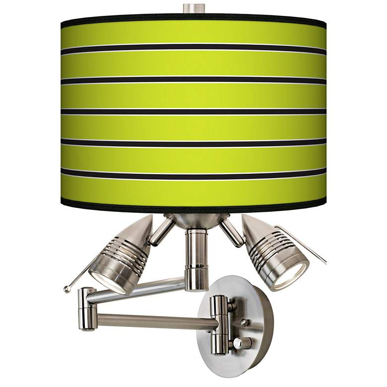 Bold Lime Green Stripe Giclee Plug-In Swing Arm Wall Lamp