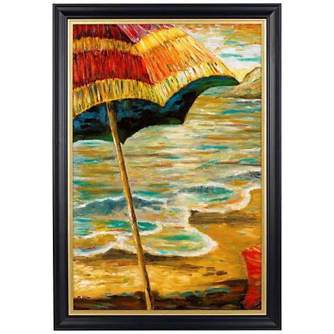 "Beach Parasols II Gold Trim Giclee 41 1/2"" High Wall Art"