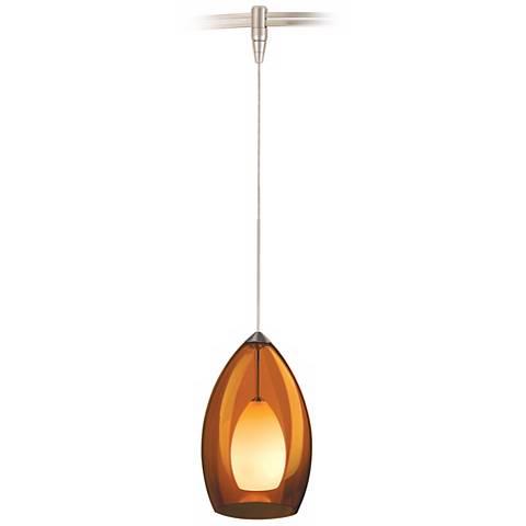 Fire Satin Nickel Amber Glass Tech Lighting MonoRail Pendant