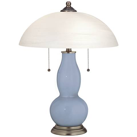 Blue Sky Gourd-Shaped Table Lamp with Alabaster Shade