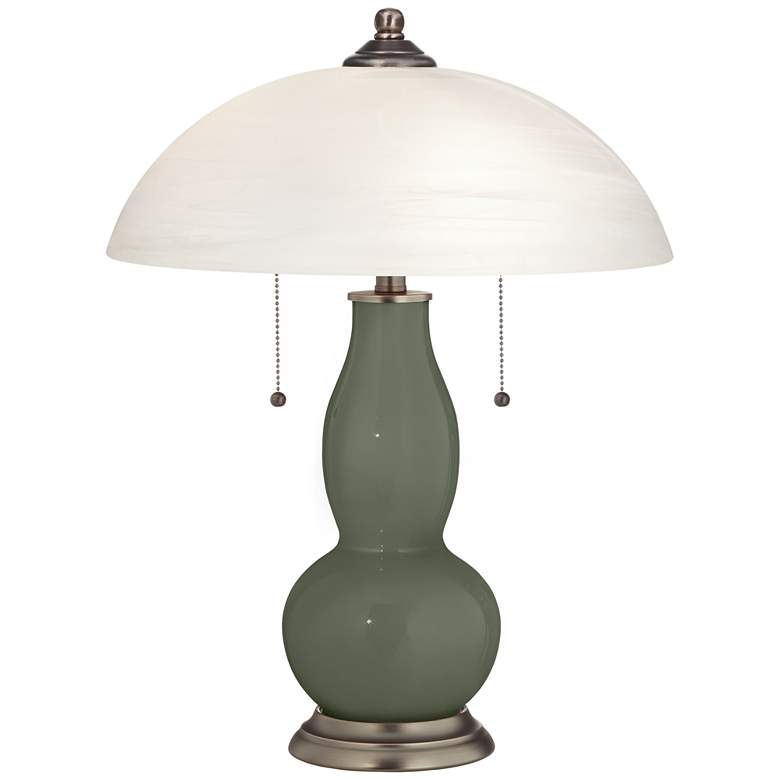Deep Lichen Green Gourd-Shaped Table Lamp with Alabaster