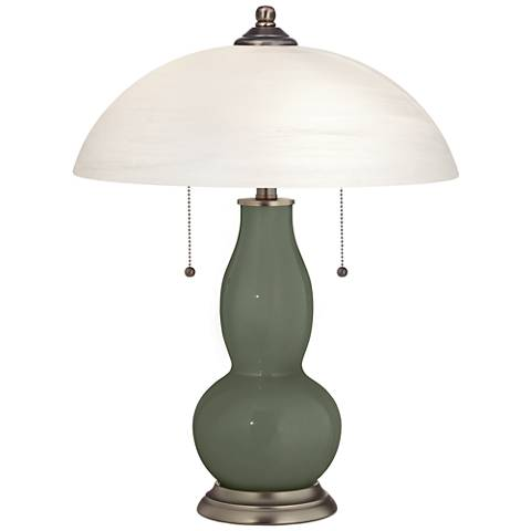 Deep Lichen Green Gourd-Shaped Table Lamp with Alabaster Shade