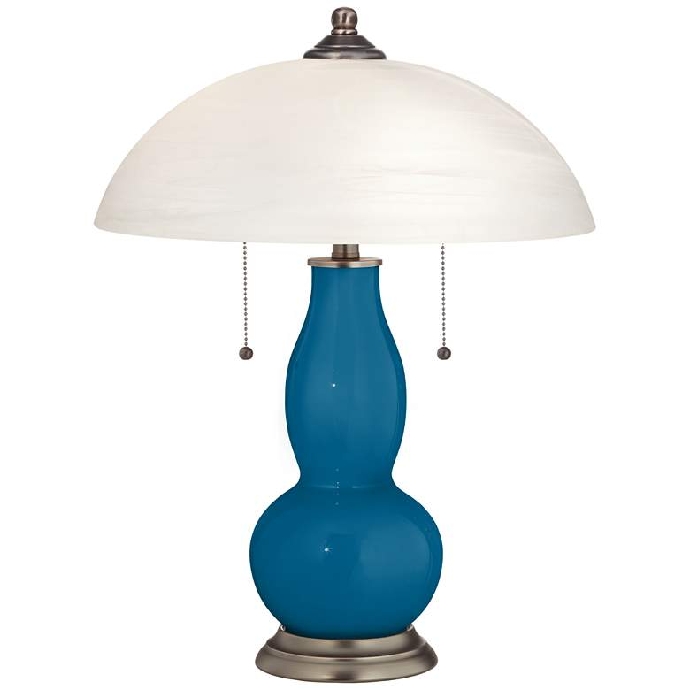 Mykonos Blue Gourd-Shaped Table Lamp with Alabaster Shade