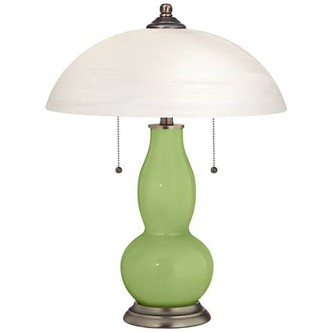 Lime Rickey Gourd-Shaped Table Lamp with Alabaster Shade