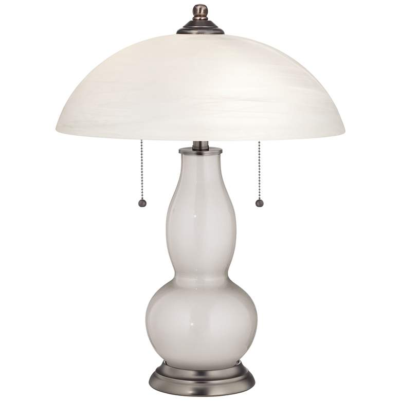 Silver Lining Metallic Gourd-Shaped Lamp with Alabaster Shade
