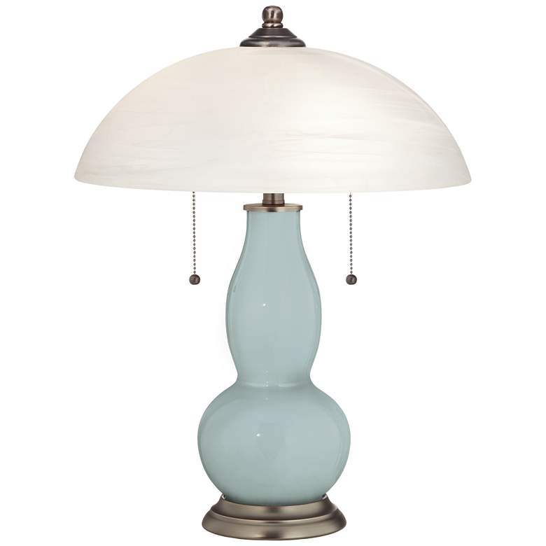 Rain Gourd-Shaped Table Lamp with Alabaster Shade