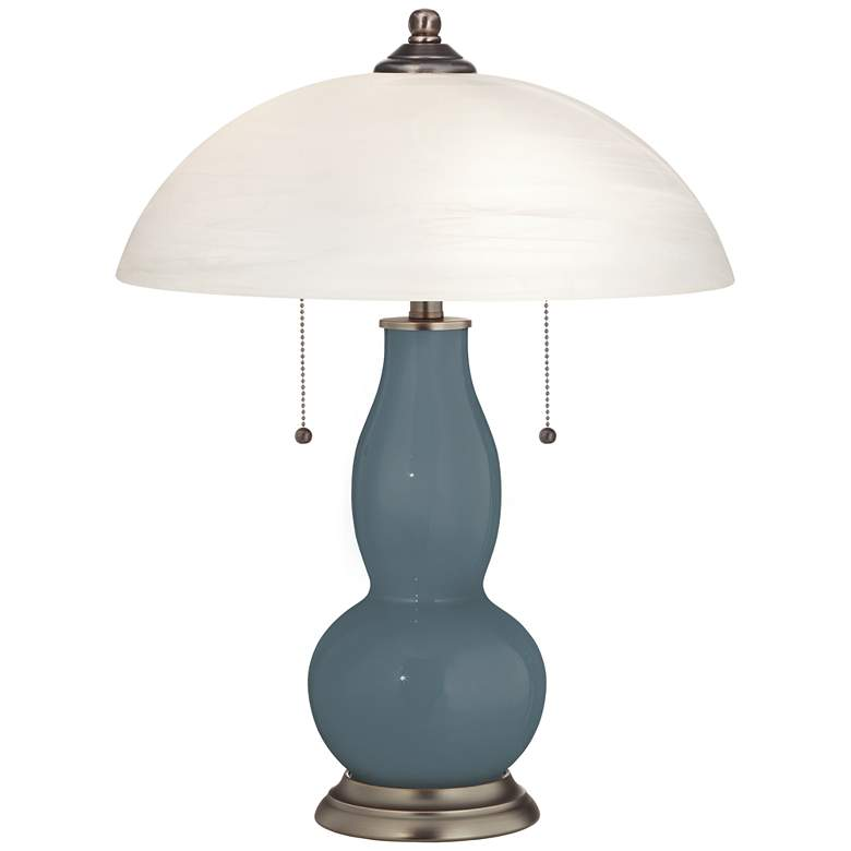 Smoky Blue Gourd-Shaped Table Lamp with Alabaster Shade