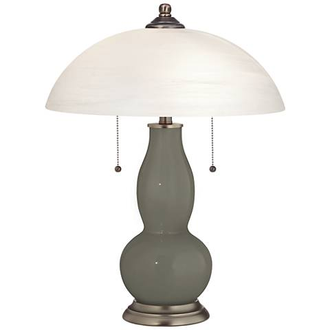 Gauntlet Gray Gourd-Shaped Table Lamp with Alabaster Shade