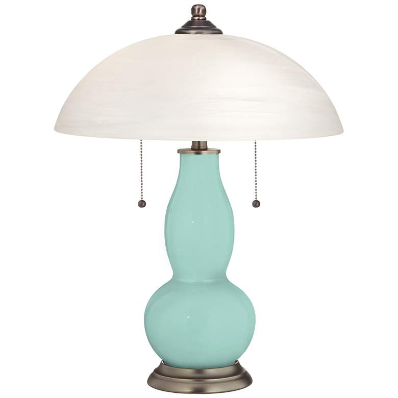 Cay Gourd-Shaped Table Lamp with Alabaster Shade