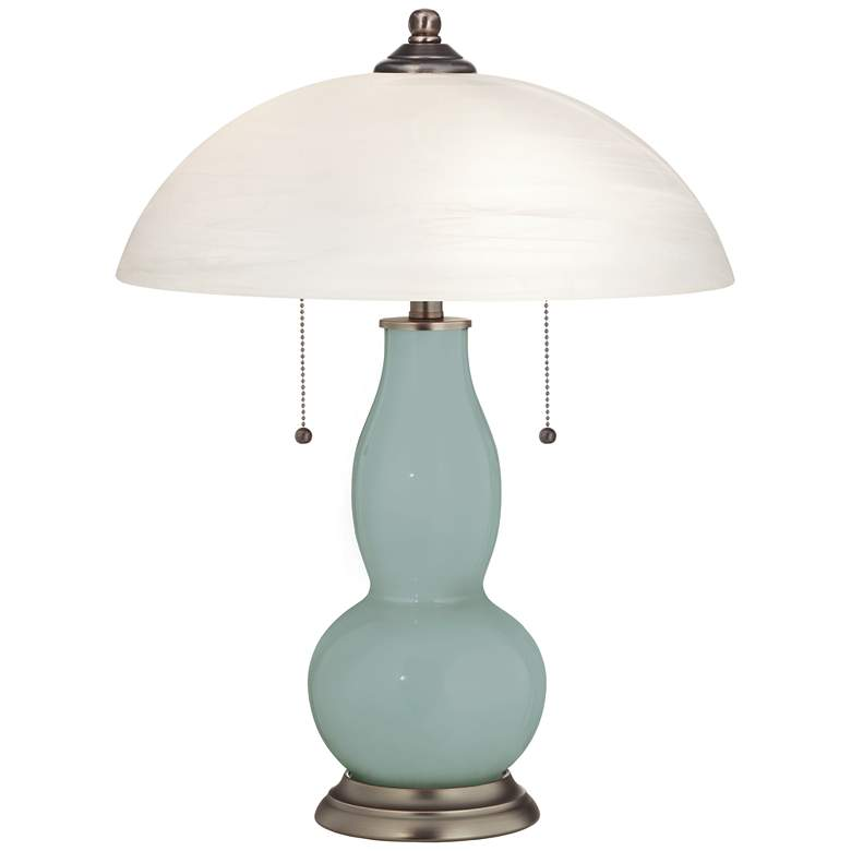 Aqua-Sphere Gourd-Shaped Table Lamp with Alabaster Shade