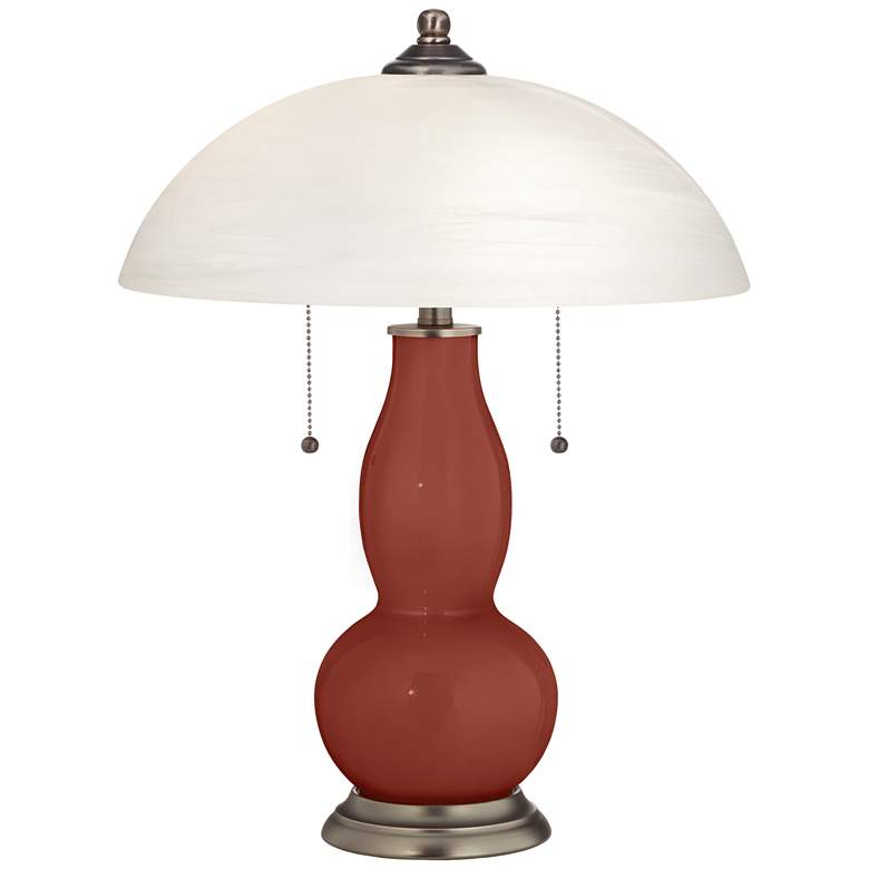 Madeira Gourd-Shaped Table Lamp with Alabaster Shade