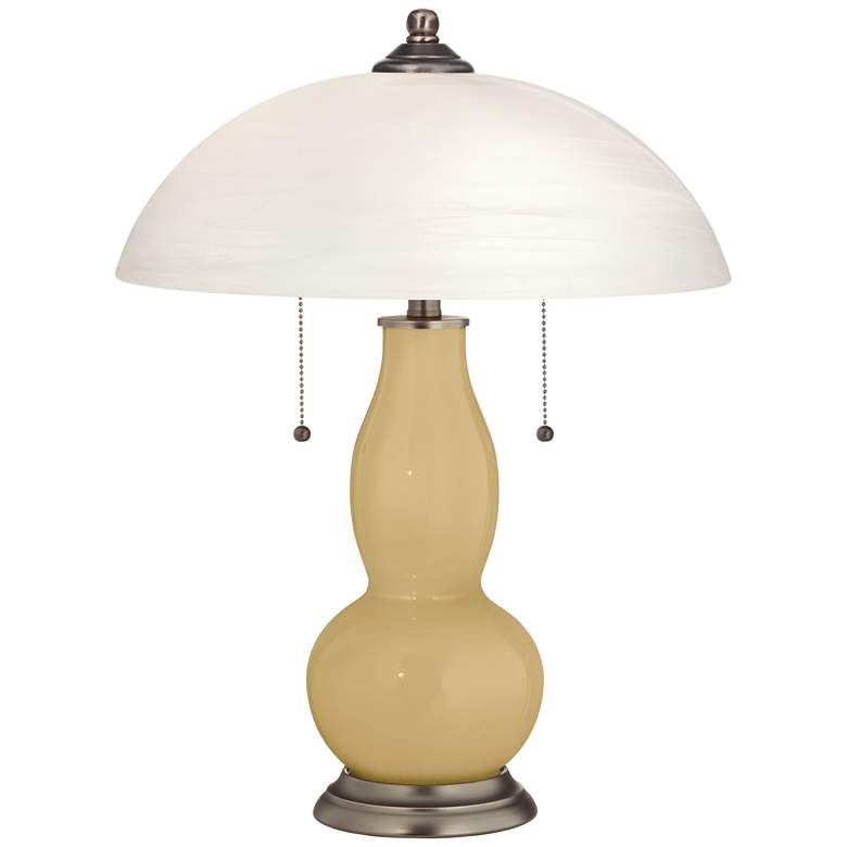 Humble Gold Gourd-Shaped Table Lamp with Alabaster Shade