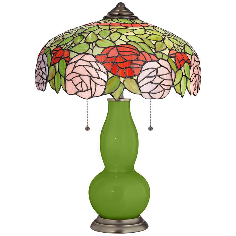 Gecko Gourd Tiffany-Style Table Lamp with Rose Bloom Shade
