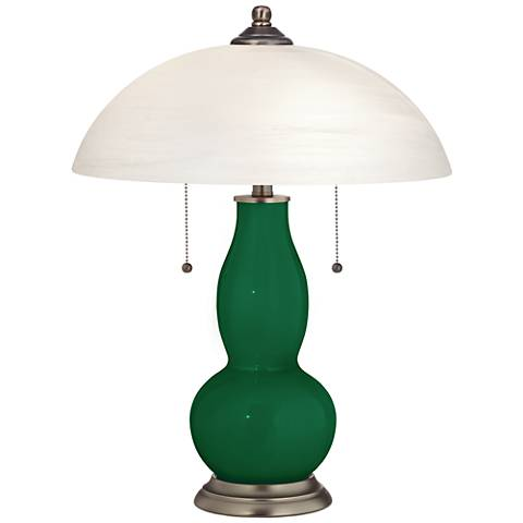 Greens Gourd-Shaped Table Lamp with Alabaster Shade