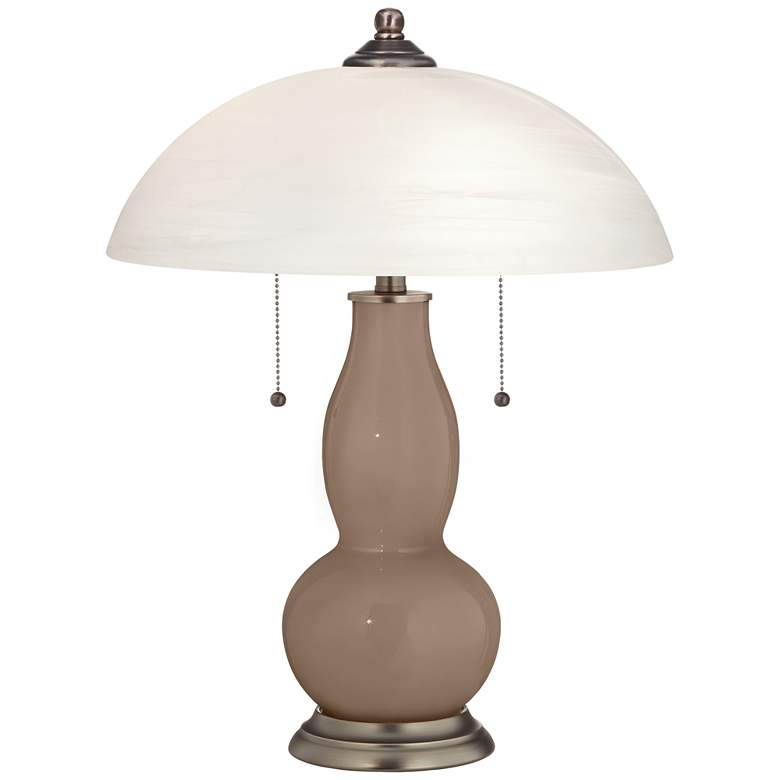 Mocha Gourd-Shaped Table Lamp with Alabaster Shade