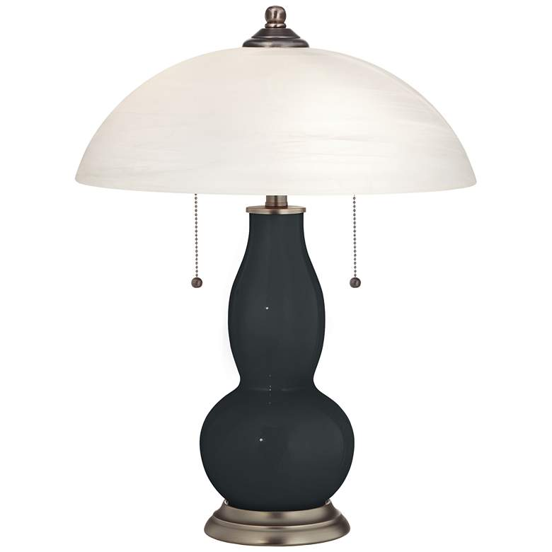 Black of Night Gourd-Shaped Table Lamp with Alabaster Shade