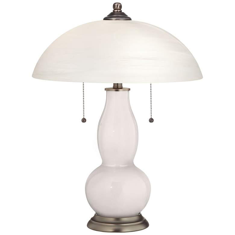 Smart White Gourd-Shaped Table Lamp with Alabaster Shade