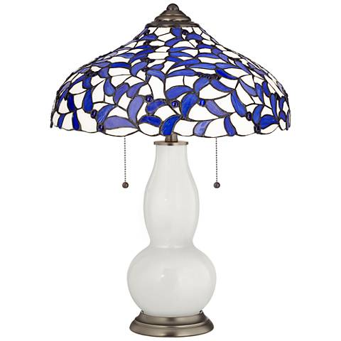 Winter White Gourd Table Lamp with Iris Blue Shade