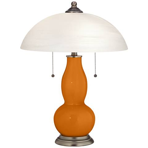 Cinnamon Spice Gourd-Shaped Table Lamp with Alabaster Shade