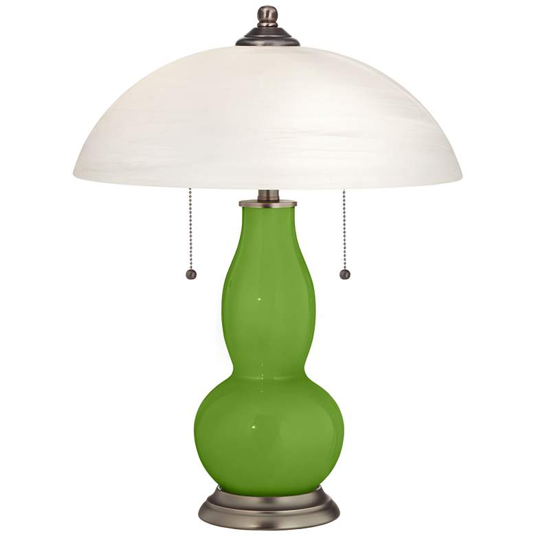 Rosemary Green Gourd-Shaped Table Lamp with Alabaster Shade