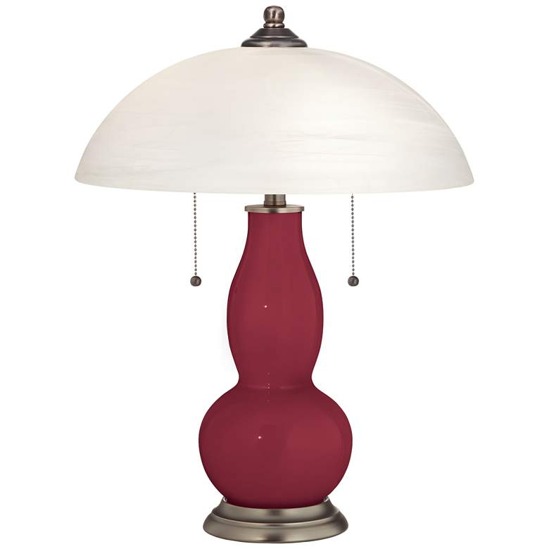 Antique Red Gourd-Shaped Table Lamp with Alabaster Shade