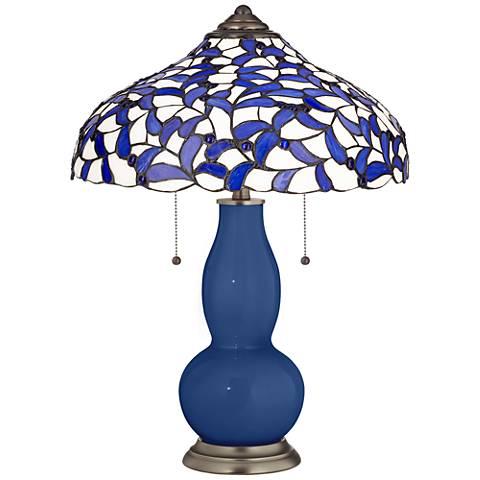 Monaco Blue Gourd Table Lamp with Iris Blue Shade