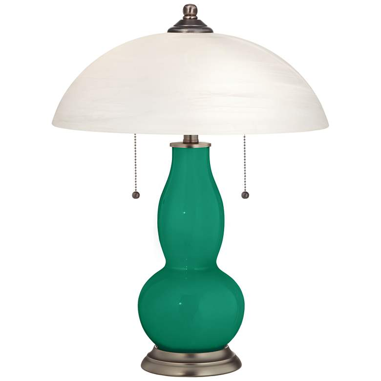 Leaf Gourd-Shaped Table Lamp with Alabaster Shade