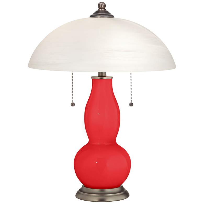 Poppy Red Gourd-Shaped Table Lamp with Alabaster Shade