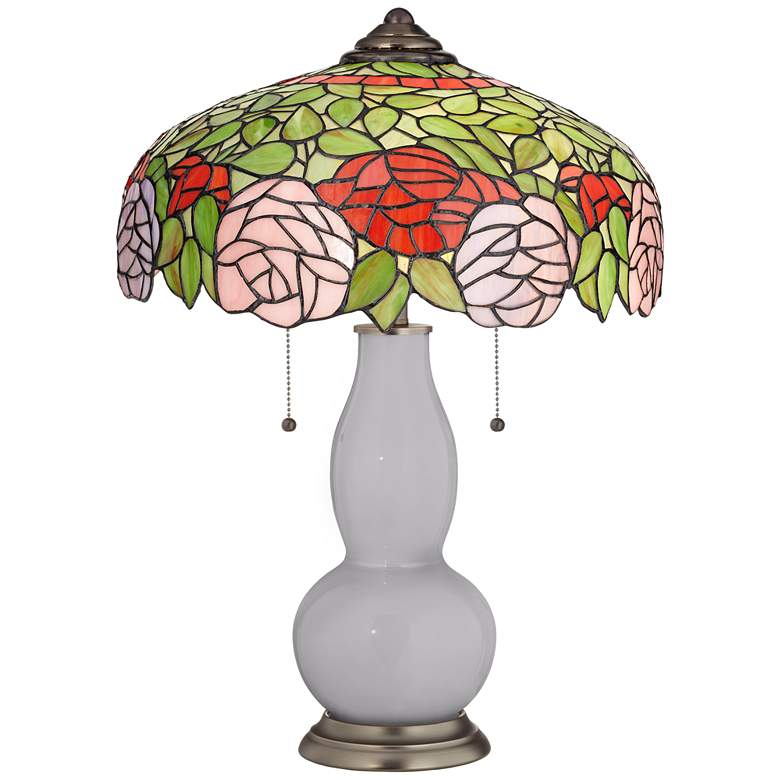 Swanky Gray Gourd Table Lamp with Rose Bloom Shade
