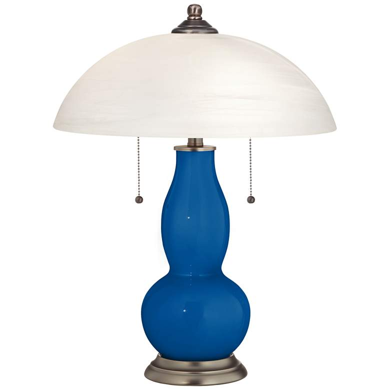 Hyper Blue Gourd-Shaped Table Lamp with Alabaster Shade