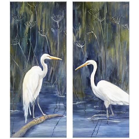 "Cranes 17 1/2"" x42"" Giclee Print Diptych Wall Art"