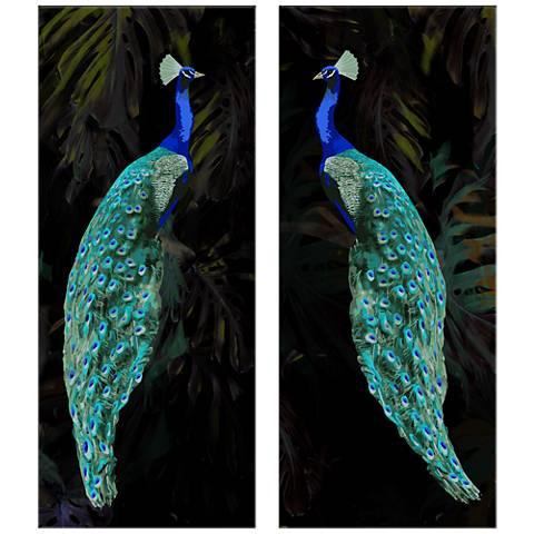 "Peacocks Set of Two 17 1/2""  x 42"" Wall Art Prints"