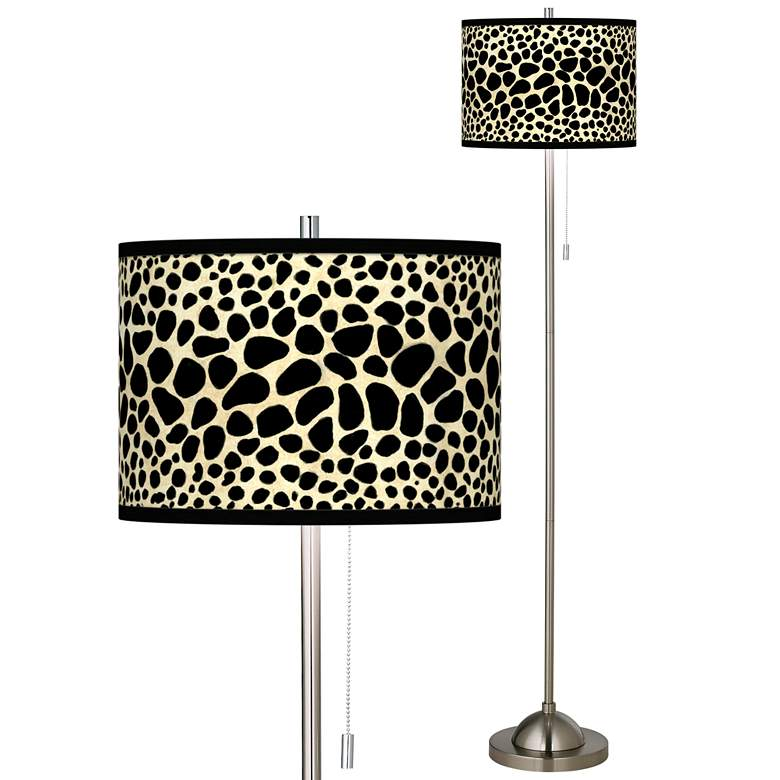 Leopard Brushed Nickel Pull Chain Floor Lamp