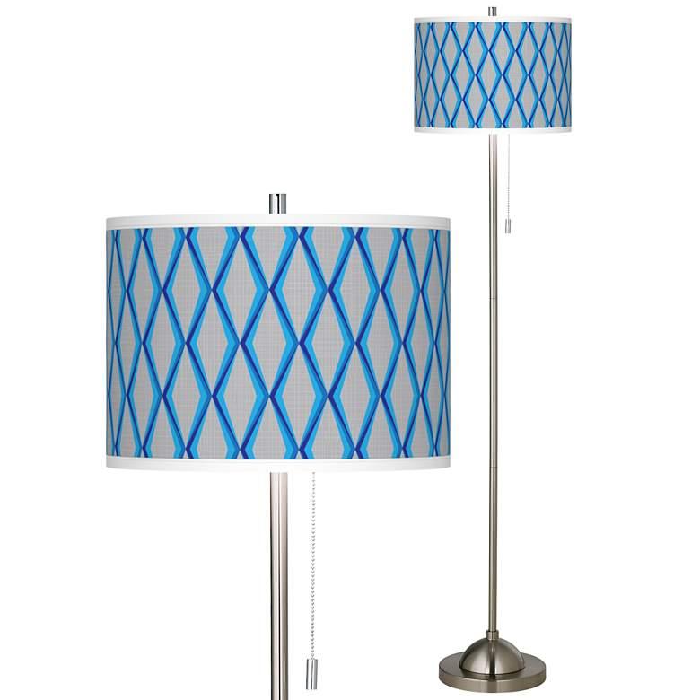 Bleu Matrix Brushed Nickel Pull Chain Floor Lamp