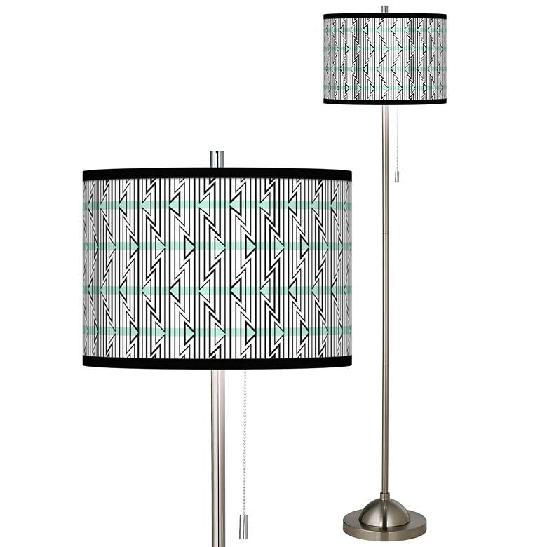 Indigenous Brushed Nickel Pull Chain Floor Lamp