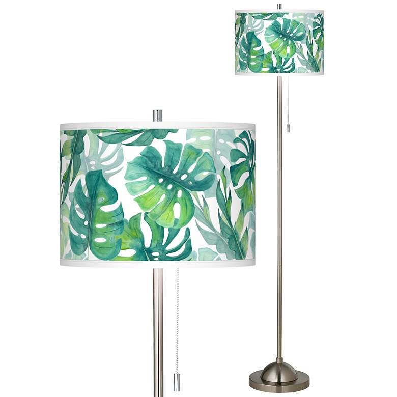 Tropica Brushed Nickel Pull Chain Floor Lamp