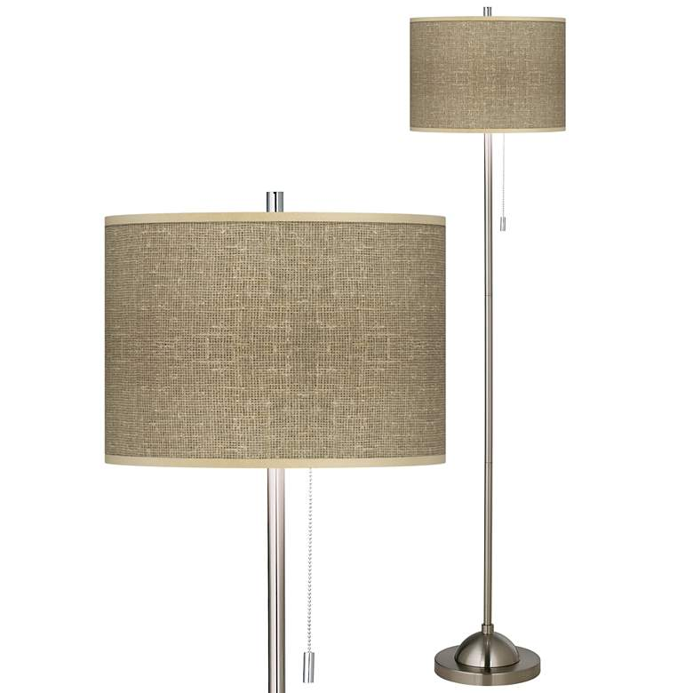 Burlap Print Giclee Contemporary Floor Lamp