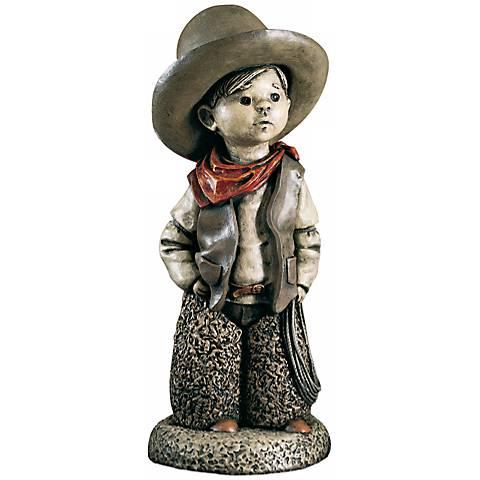 """Little Boy Cowboy 18"""" High Yard Decor Garden Sculpture"""
