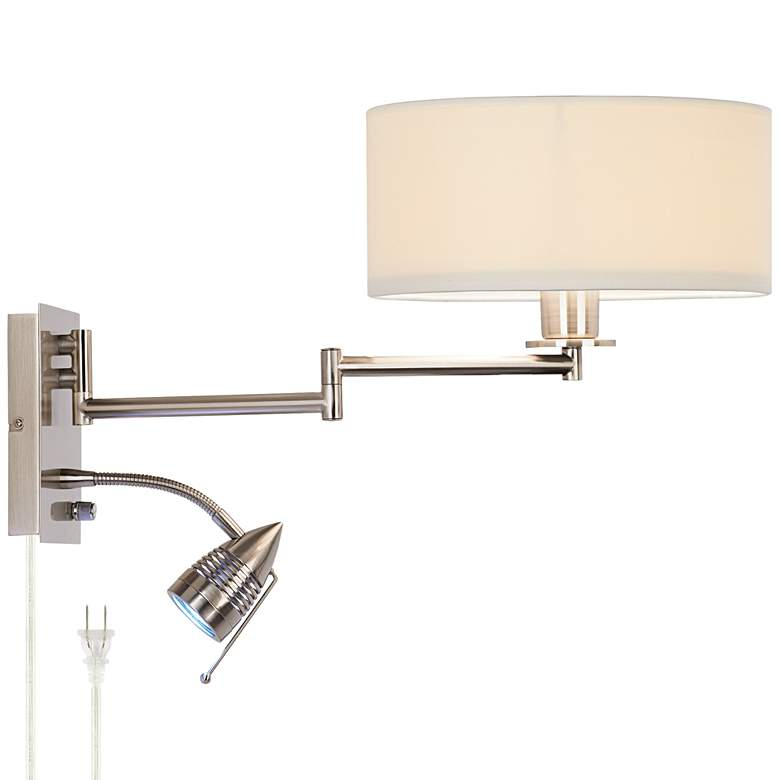 Possini Euro Tesoro Swing Arm Wall Lamp with LED Reading Arm