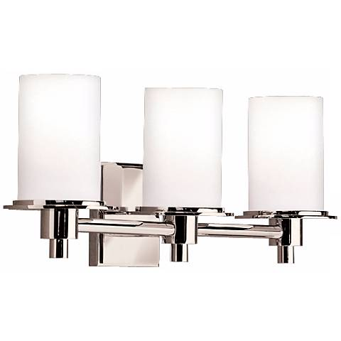 """Polished Nickel and Etched Glass 20 1/2"""" Wide Bathroom Light"""