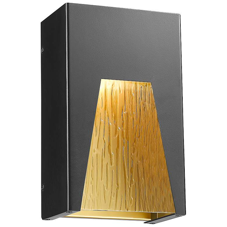 """Millenial 10"""" High Black and Gold LED Outdoor Wall Light"""