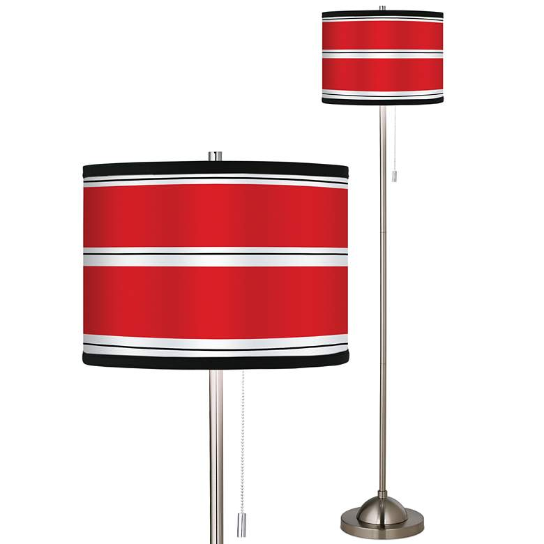 Giclee Red Stripes Brushed Nickel Pull Chain Floor Lamp