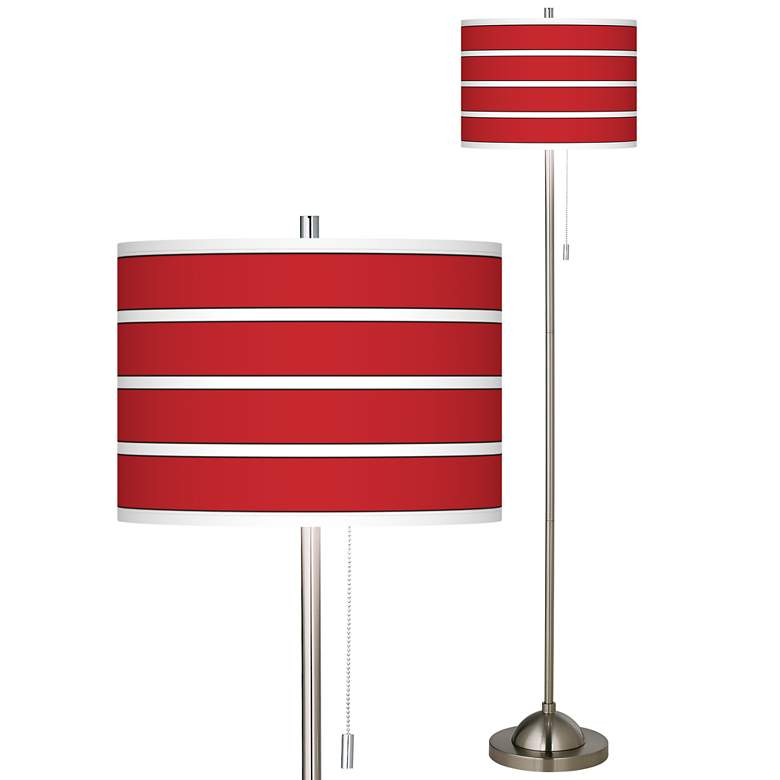 Giclee Bold Red Stripe Brushed Nickel Pull Chain Floor Lamp
