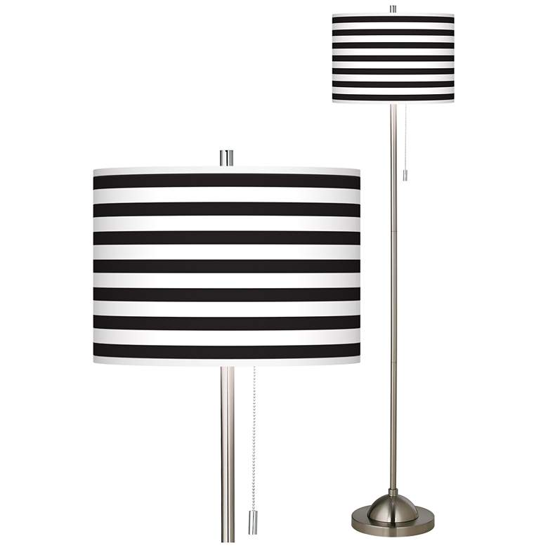 Giclee Black Stripe Brushed Nickel Pull Chain Floor Lamp