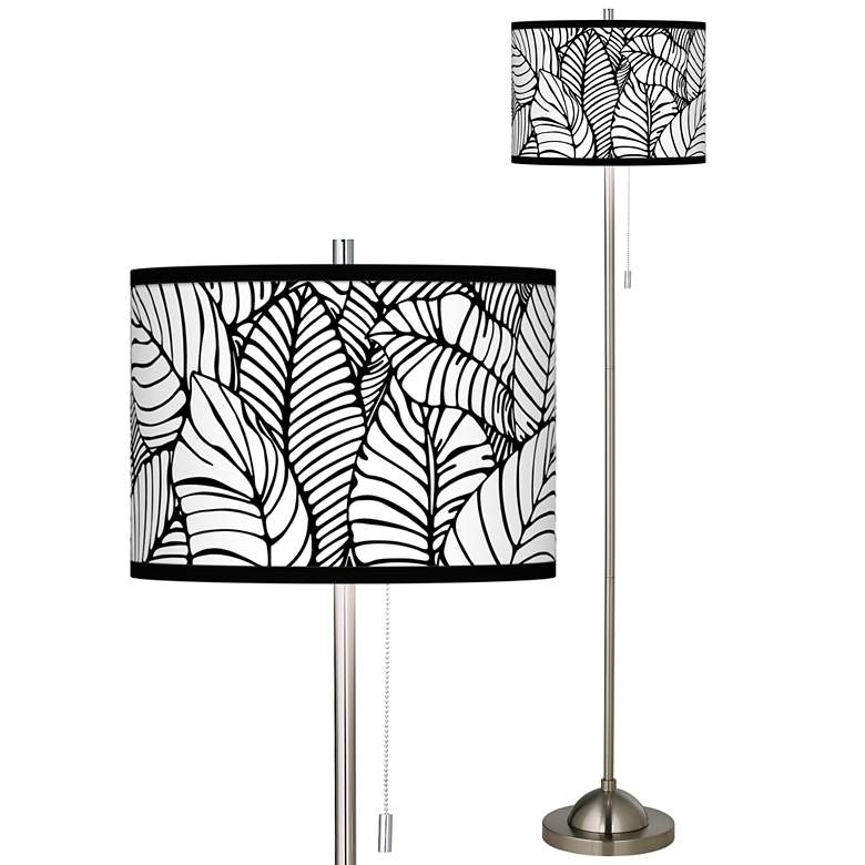 Tropical Leaves Brushed Nickel Pull Chain Floor Lamp