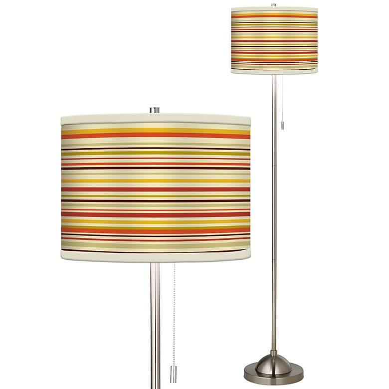 Stacy Garcia Lemongrass Stripe Brushed Nickel Floor Lamp
